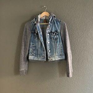 American Eagle — Hooded Jean Jacket